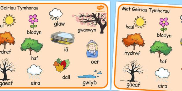 Mat Geiriau 'Y Tymhorau' - welsh, season, word mat, word, mat, words