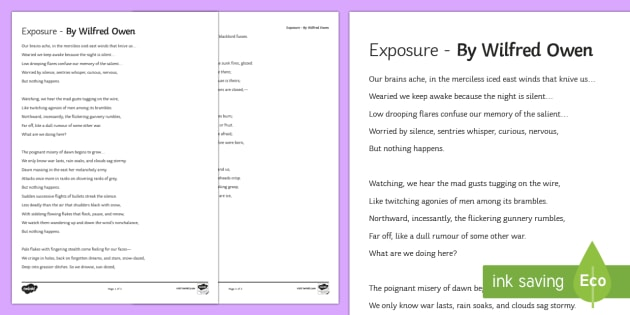 Gcse Complete Poem To Support Teaching On Exposure By
