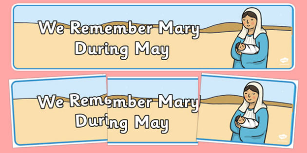 We Remember Mary During May Banner - gaeilge, Mary, May, banner, display, Christianity