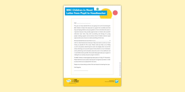 BBC Children in Need Letter from Pupil to Headteacher