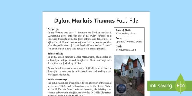 Dylan Thomas Fact File-Welsh