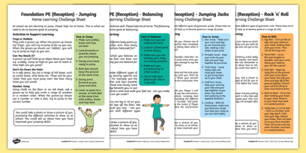Foundation PE (Reception) - Gymnastics – Jumping Jacks and Rock 'n' Roll Home Learning Challenge Sheets Pack - EYFS, PE, Physical Development, Planning