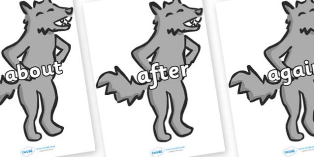 KS1 Keywords on Wolf - KS1, CLL, Communication language and literacy, Display, Key words, high frequency words, foundation stage literacy, DfES Letters and Sounds, Letters and Sounds, spelling