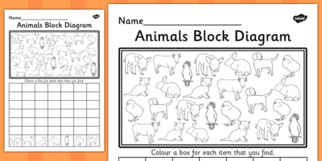 Animals Block Diagram Activity Sheet - graphs, record, activities, worksheet