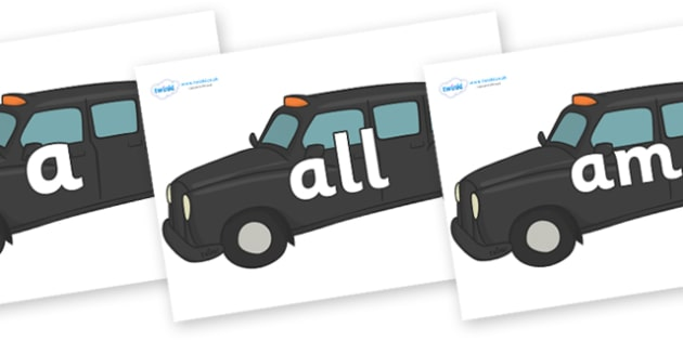 Foundation Stage 2 Keywords on Taxi Cabs - FS2, CLL, keywords, Communication language and literacy,  Display, Key words, high frequency words, foundation stage literacy, DfES Letters and Sounds, Letters and Sounds, spelling