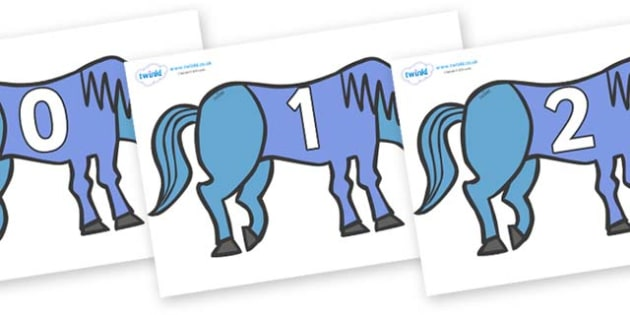Numbers 0-50 on Blue Horse to Support Teaching on Brown Bear, Brown Bear - 0-50, foundation stage numeracy, Number recognition, Number flashcards, counting, number frieze, Display numbers, number posters