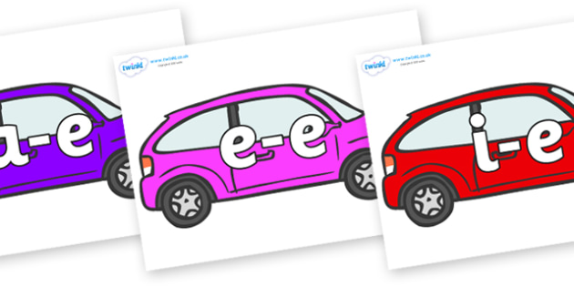 Modifying E Letters on Cars - Modifying E, letters, modify, Phase 5, Phase five, alternative spellings for phonemes, DfES letters and Sounds