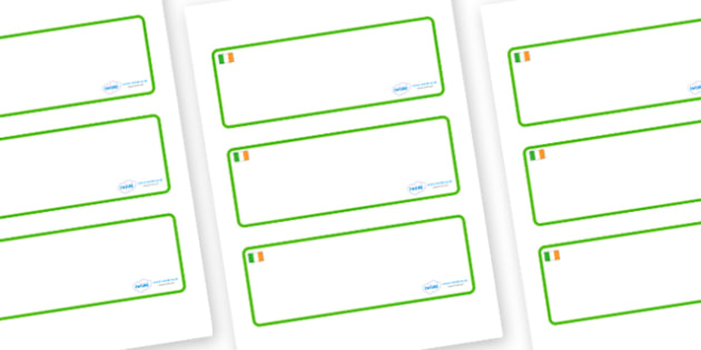 Ireland Themed Editable Drawer-Peg-Name Labels (Blank) - Themed Classroom Label Templates, Resource Labels, Name Labels, Editable Labels, Drawer Labels, Coat Peg Labels, Peg Label, KS1 Labels, Foundation Labels, Foundation Stage Labels, Teaching Labe