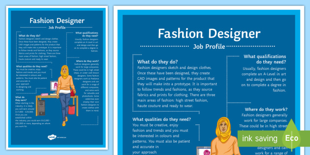 Fashion Designer Job Profile A4 Display Poster Fashion