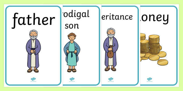 The Prodigal Son Display Posters - The Prodigal Son, son, father, prodigal, the lost son, lost, display, banner, poster, sign, coming back, father and son, jealous, pigs, inheritance, return, party, feast