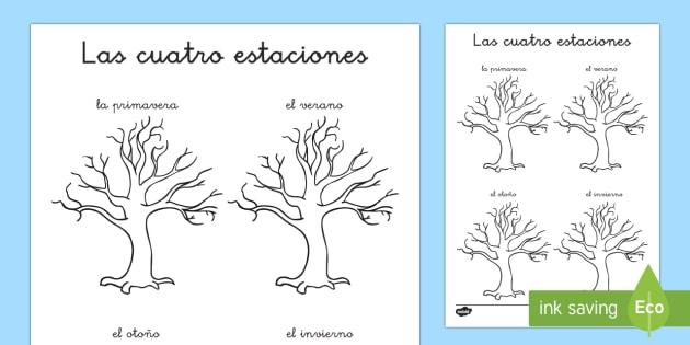 Dibujos De Las 4 Estaciones Para Colorear: Las Estaciones Del Año Ficha De Leer Y Dibujar