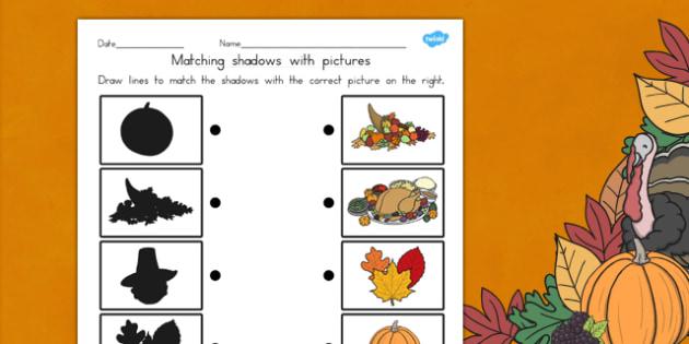 Thanksgiving Shadow Matching Worksheet USA - worksheets, match