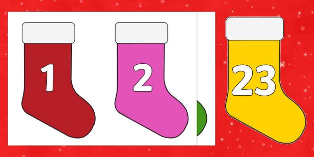 Christmas Advent Calendar Mini Stocking Cut Outs - christmas, advent calendar, mini-stocking, cut outs
