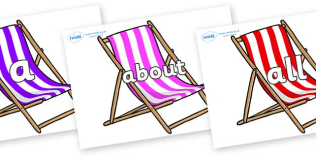 100 High Frequency Words on Deck Chairs - High frequency words, hfw, DfES Letters and Sounds, Letters and Sounds, display words