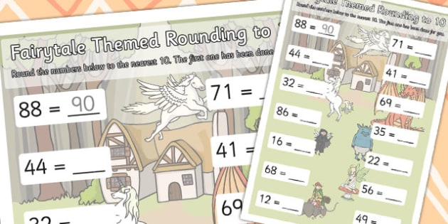 Fairytale Themed Round Up To 10 Worksheet - Fairytale, Round