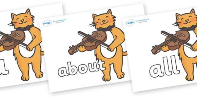 100 High Frequency Words on Cat and Fiddle - High frequency words, hfw, DfES Letters and Sounds, Letters and Sounds, display words