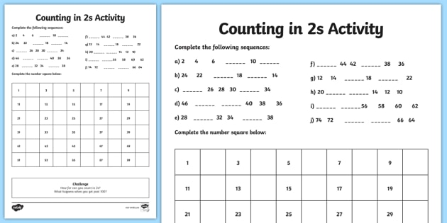 Counting In Twos Worksheet - Maths Resource - Twinkl