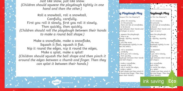 When It's Snowing Playdough Play Song - EYFS, Early Years, Christmas, winter, Playdough Play,Dough Disco, finger gym, fine motor skills, Phy