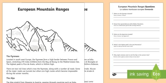 european mountain ranges comprehension worksheet activity. Black Bedroom Furniture Sets. Home Design Ideas