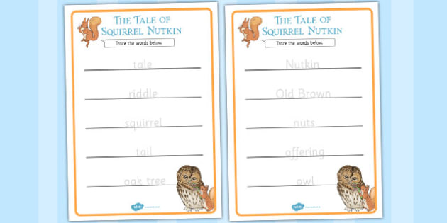 The Tale of Squirrel Nutkin Trace the Words Worksheets - squirrel nutkin