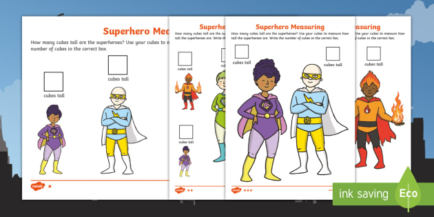 Superhero Measuring with Cubes Differentiated Worksheet /