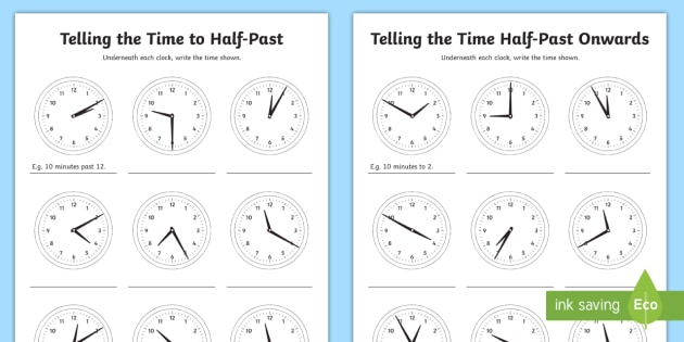 NEW* Telling the Time in 5 Minute Intervals Worksheets