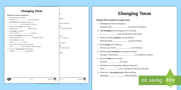 Changing Tense Worksheets - changing tense, past future present