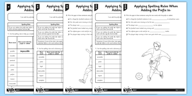 Applying Spelling Rules When Adding the Prefix in- Differentiated Worksheet / Activity Sheet Pack - GPS, grammar, spelling, punctuation, root word, worksheet