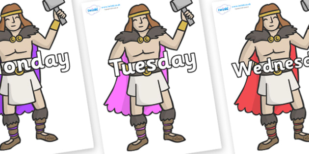 Days of the Week on Viking Warriors - Days of the Week, Weeks poster, week, display, poster, frieze, Days, Day, Monday, Tuesday, Wednesday, Thursday, Friday, Saturday, Sunday