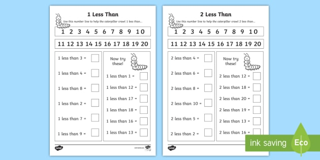 1 less than and 2 less than Activity Sheets - Worksheets, 1 More
