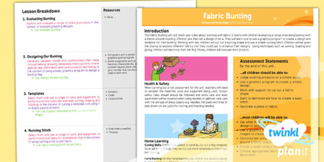 D&T: Fabric Bunting KS1 Planning Overview