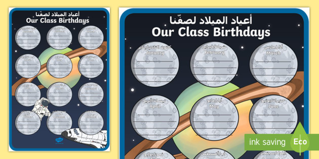 Innovative Classroom Resources ~ Space themed our class birthday chart display poster