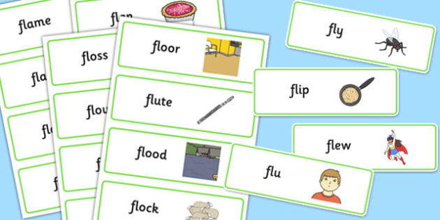 FL Word Cards - sen, sound, special educational needs, fl, word cards