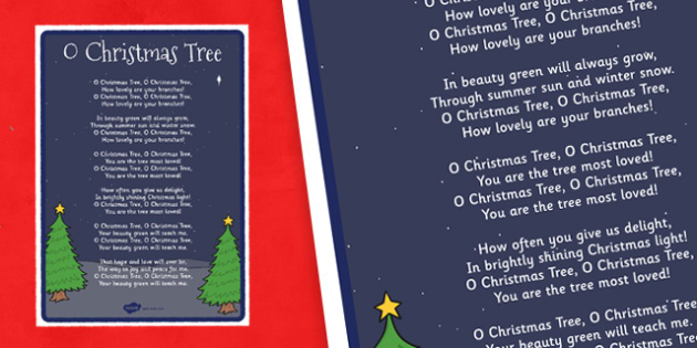 o christmas tree lyrics poster o christmas tree lyrics poster display - Oh Christmas Tree How Lovely Are Your Branches Lyrics