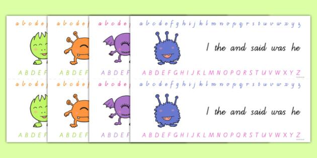 Alphabet Strips Handwriting - alphabet, a-z, visual aid, literacy