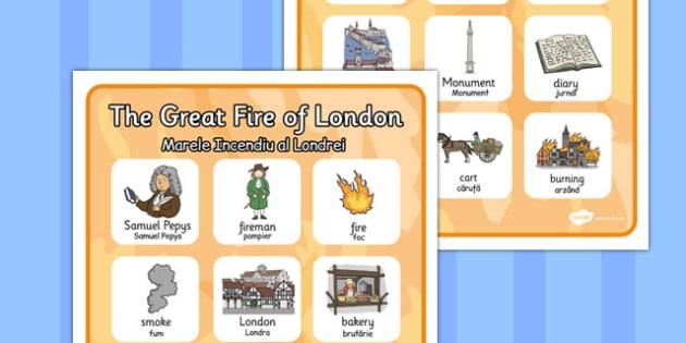 The Great Fire of London Vocabulary Poster Romanian Translation - romanian