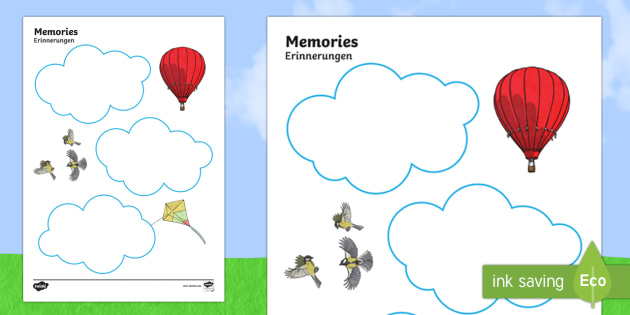 Memories Writing Template English/German - Memories Writing Template - ourselves, reflect, remember, write, oursleves, ourselvs, tempelte, writ