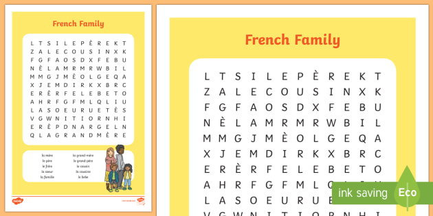 free french family members wordsearch worksheets families search. Black Bedroom Furniture Sets. Home Design Ideas