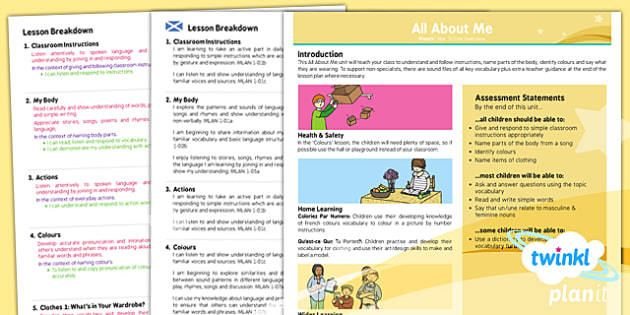 French: All About Me Year 3 CfE Overview
