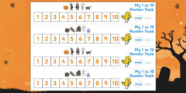 Number Track 1-10 (Halloween) - Number Track 0-10, Maths, Math, number track, 0, 10, numbertrack, Counting, Numberline, Number line, Counting on, Counting back, Halloween, pumpkin , witch, bat, scary, black cat, mummy, grave stone, cauldron, broomsti