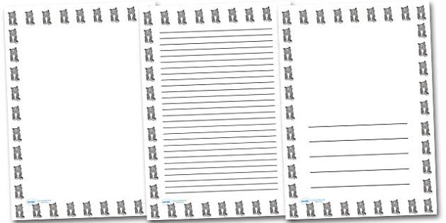 Kitten Portrait Page Borders- Portrait Page Borders - Page border, border, writing template, writing aid, writing frame, a4 border, template, templates, landscape