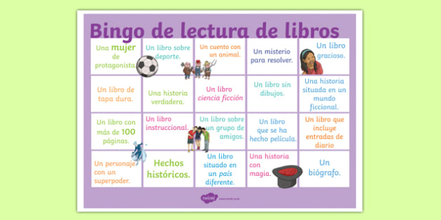 Book Reading Bingo A3 Display Poster Spanish-Spanish