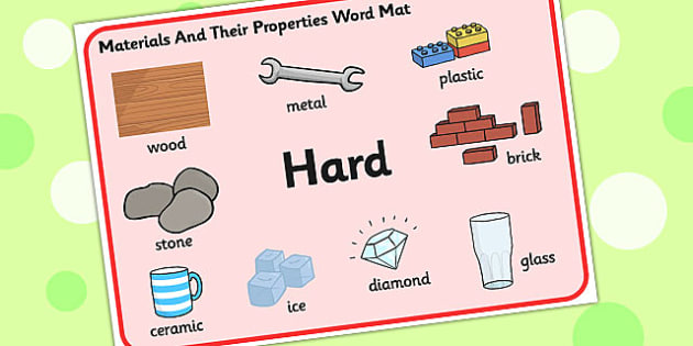 Materials And Their Properties Hard Materials Word Mat - materials, properties, hard