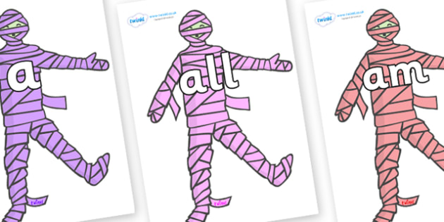 Foundation Stage 2 Keywords on Mummies (Multicolour) - FS2, CLL, keywords, Communication language and literacy,  Display, Key words, high frequency words, foundation stage literacy, DfES Letters and Sounds, Letters and Sounds, spelling