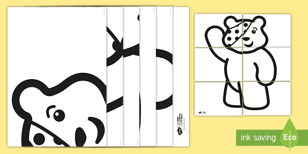 * NEW * BBC Children in Need Giant Pudsey Colouring Template
