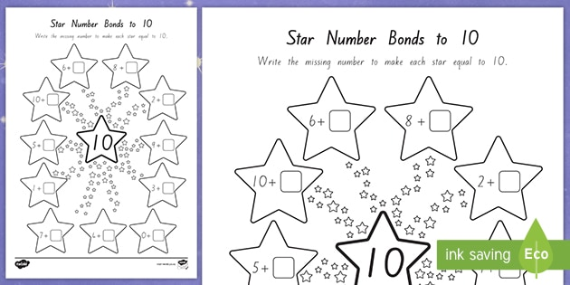 Star Bonds To 10 Worksheet (teacher Made)