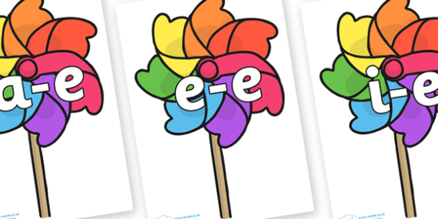 Modifying E Letters on Beach Windmills - Modifying E, letters, modify, Phase 5, Phase five, alternative spellings for phonemes, DfES letters and Sounds