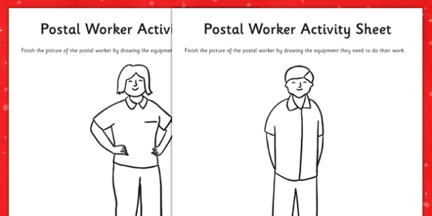 Aistear Christmas and the Post Office Postal Worker Activity Sheet - gaeilge, Post Office, Aistear, Postal Worker, Equipment, Drawing, worksheet