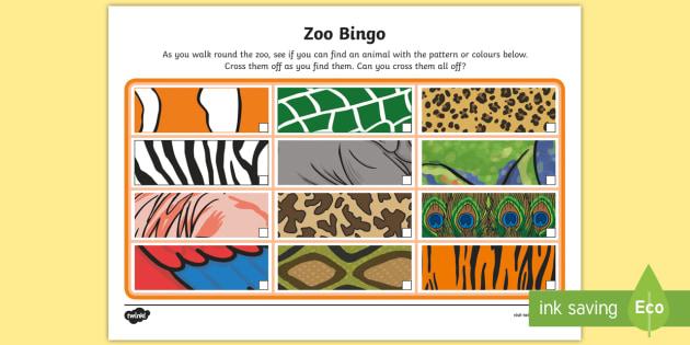 zoo bingo patterns worksheet activity sheet animals. Black Bedroom Furniture Sets. Home Design Ideas