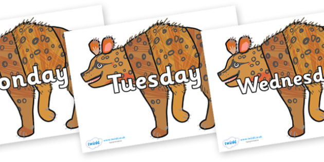 Days of the Week on Hyena to Support Teaching on The Bad Tempered Ladybird - Days of the Week, Weeks poster, week, display, poster, frieze, Days, Day, Monday, Tuesday, Wednesday, Thursday, Friday, Saturday, Sunday